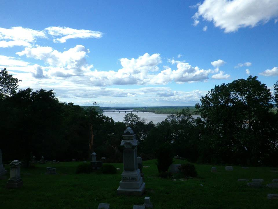 The Mississippi River serves as a beautiful backdrop of the Riverside Cemetery in Hannibal, MO.